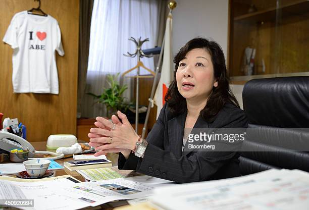 Seiko Noda chairperson for the general council of the Liberal Democratic Party speaks during an interview in Tokyo Japan on Wednesday June 4 2014...