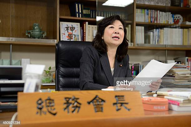 Seiko Noda chairperson for the general council of the Liberal Democratic Party speaks as she sits for a photograph in her office in Tokyo Japan on...
