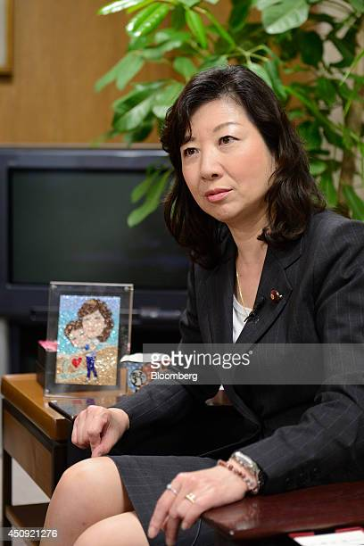 Seiko Noda chairperson for the general council of the Liberal Democratic Party listens during an interview in Tokyo Japan on Wednesday June 4 2014...