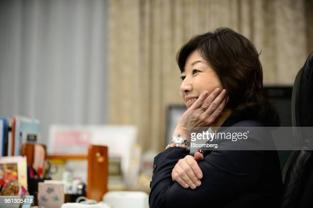 Seiko Noda Japan's internal affairs and communications minister listens during an interview in Tokyo Japan on Wednesday April 25 2018 The Bank of...
