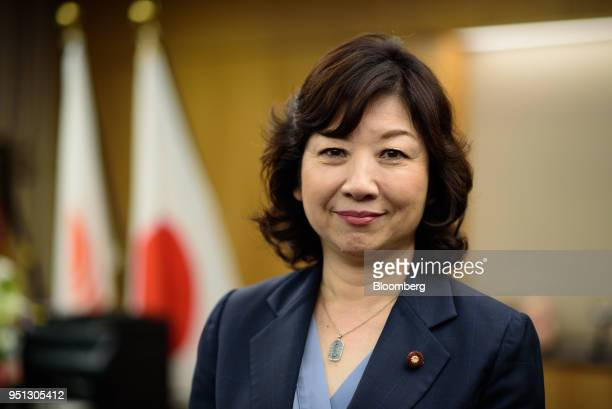 Seiko Noda Japan's internal affairs and communications minister poses for a photograph in Tokyo Japan on Wednesday April 25 2018 The Bank of Japan...