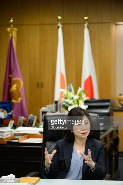 Seiko Noda Japan's internal affairs and communications minister speaks during an interview in Tokyo Japan on Wednesday April 25 2018 The Bank of...