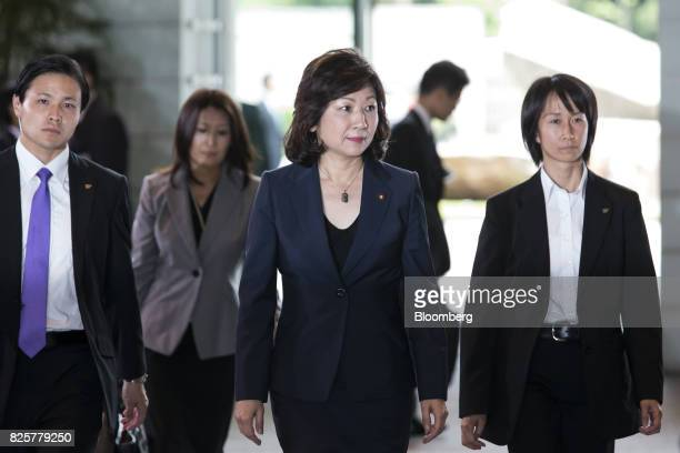 Seiko Noda newlyappointed internal affairs and communications minister of Japan center arrives at the Prime Minister's official residence in Tokyo...
