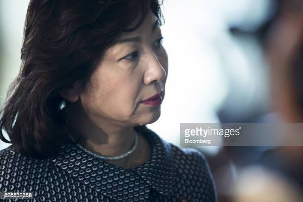 Seiko Noda newlyappointed internal affairs and communications minister of Japan arrives at the Prime Minister's official residence in Tokyo Japan on...
