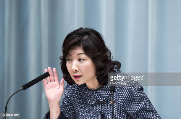 Seiko Noda newlyappointed internal affairs and communications minister of Japan gestures as she speaks during a news conference at the Prime...