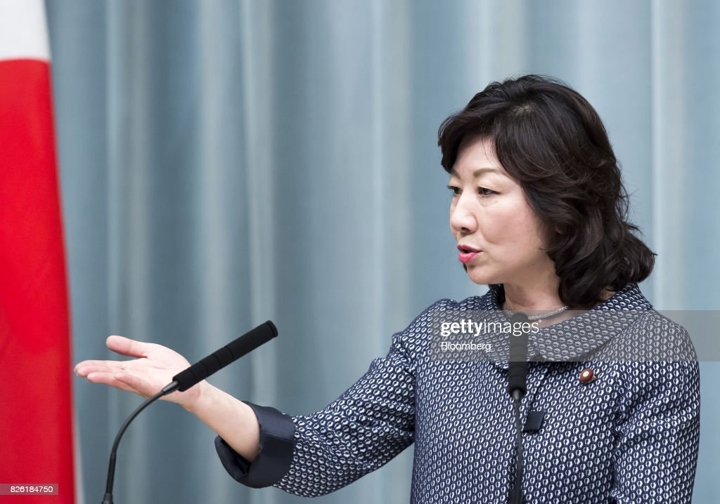 Seiko Noda, newly-appointed internal affairs and communications minister of Japan, speaks during a news conference at the Prime Minister's official residence in Tokyo, Japan, on Thursday, Aug. 3, 2017. Japanese Prime Minister Shinzo Abe reshuffled his ministers and party officials after a slump in popularity and a humiliating local election defeat. Photographer: Tomohiro Ohsumi/Bloomberg via Getty Images