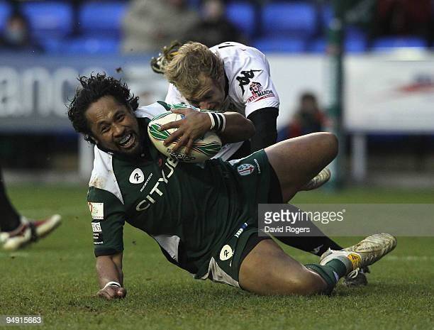 Seilala Mapusua dives over to score the second London Irish try during the Heineken Cup match between London Irish and Brive at the Madejski Stadium...
