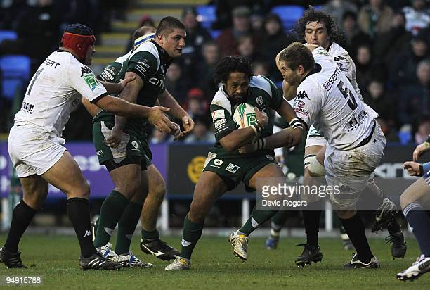 Seilala Mapusua races away to score the second London Irish try during the Heineken Cup match between London Irish and Brive at the Madejski Stadium...