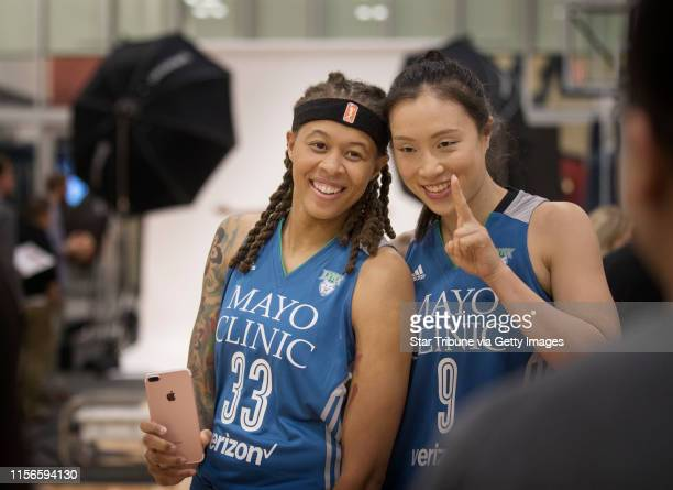 Seimone Augustus left and Shao Ting posed for photos during Minnesota Lynx media day at Mayo Clinic Square Monday May 1 2017 in Minneapolis MN] JERRY...