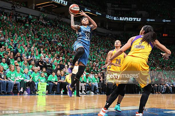 Seimone Augustus of the Minnesota Lynx drives to the basket against the Los Angeles Sparks during Game Five of the 2016 WNBA Finals on October 20...