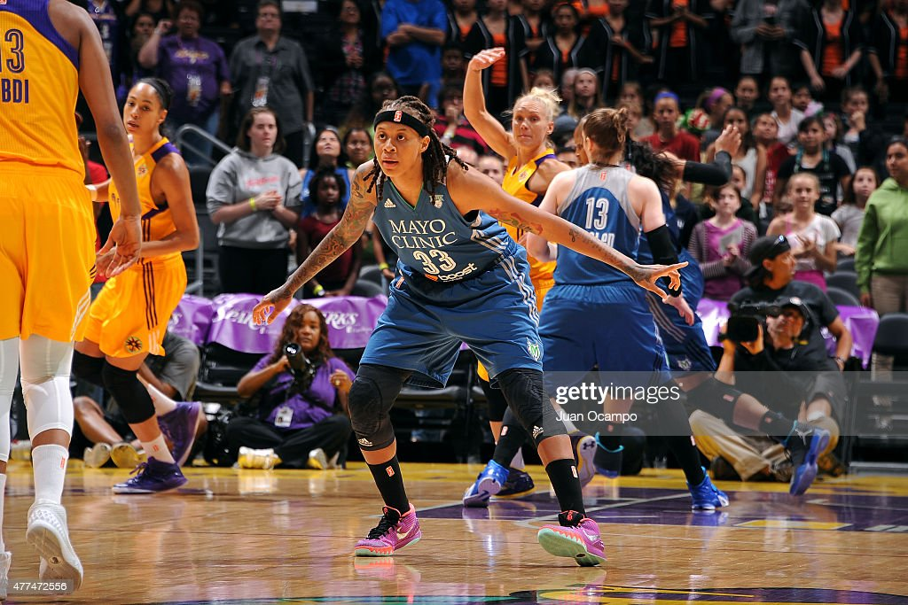 Seimone Augustus #33 of the Minnesota Lynx guards her position against the Los Angeles Sparks on June 16, 2015 at Staples Center in Los Angeles, California.