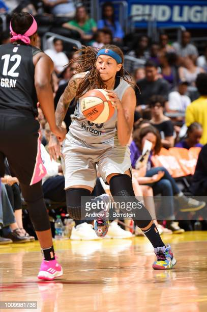 Seimone Augustus of the Minnesota Lynx handles the ball against the Los Angeles Sparks on August 2 2018 at STAPLES Center in Los Angeles California...