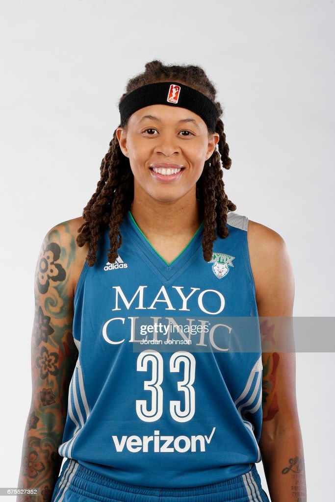 Seimone Augustus #33 of the Minnesota Lynx poses for portraits during 2017 Media Day on May 1, 2017 at the Minnesota Timberwolves and Lynx Courts at Mayo Clinic Square in Minneapolis, Minnesota.