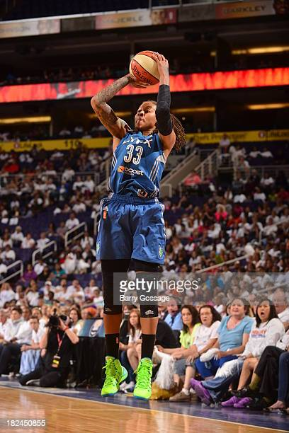 Seimone Augustus of the Minnesota Lynx shoots against the Phoenix Mercury in Game 2 of the Western Conference Finals during 2013 WNBA Playoffs on...