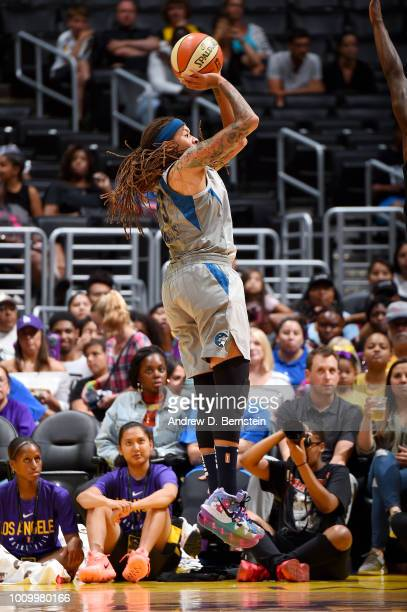 Seimone Augustus of the Minnesota Lynx shoots the ball against the Los Angeles Sparks on August 2 2018 at STAPLES Center in Los Angeles California...