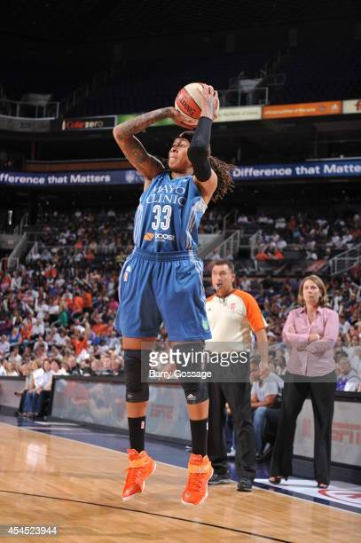Seimone Augustus of the Minnesota Lynx shoots the ball against the Phoenix Mercury in Game 3 of the 2014 WNBA Western Conference Finals on September...