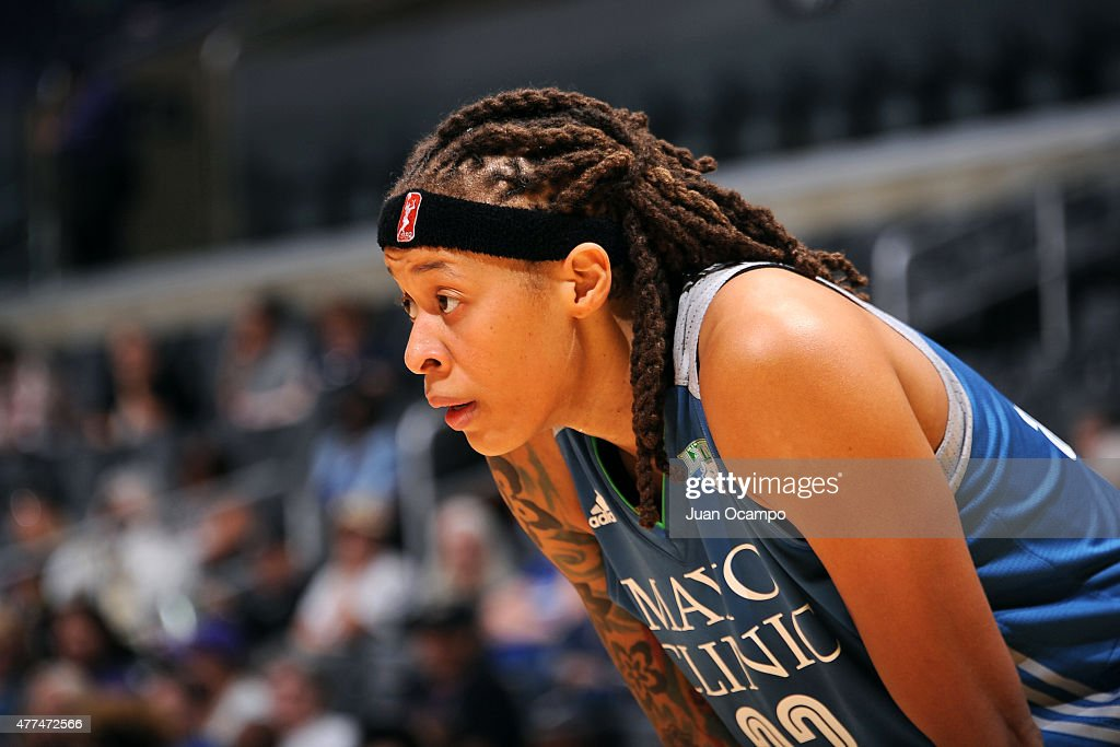 Seimone Augustus #33 of the Minnesota Lynx stands on the court during a game against the Los Angeles Sparks on June 16, 2015 at Staples Center in Los Angeles, California.