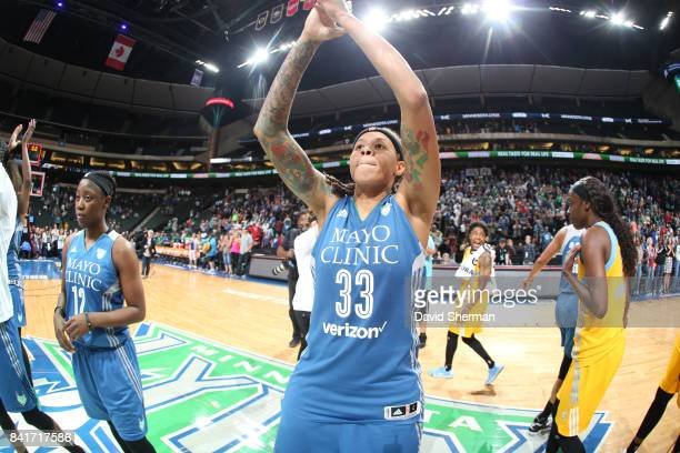 Seimone Augustus of the Minnesota Lynx with teammates celebrate a win against the Chicago Sky on September 1 2017 at Xcel Energy Center in St Paul...