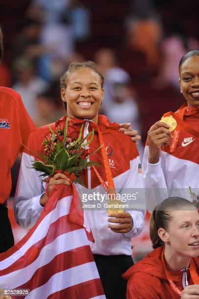 Seimone Augustus of the U.S. Women's Senior National Team celebrate after winning the gold medal against Australia at the Beijing Olympic Basketball...