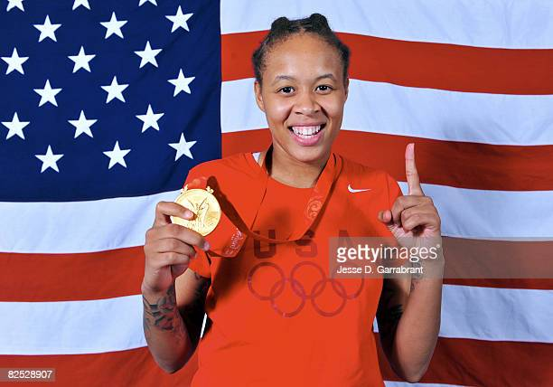 Seimone Augustus of the U.S. Women's Senior National Team poses for a portrait after winning the gold medal against Australia at the Beijing Olympic...