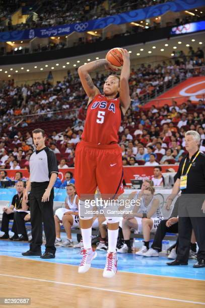 Seimone Augustus of the U.S. Women's Senior National Team shoots against New Zealand during the women's preliminary round group B basketball match at...