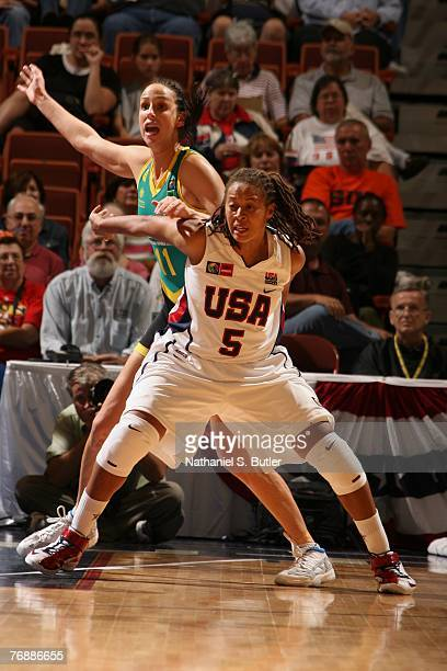 Seimone Augustus of the USA Women's Senior National Team fights for position against Laura Summerton of Australia on September 19 2007 at the Mohegan...