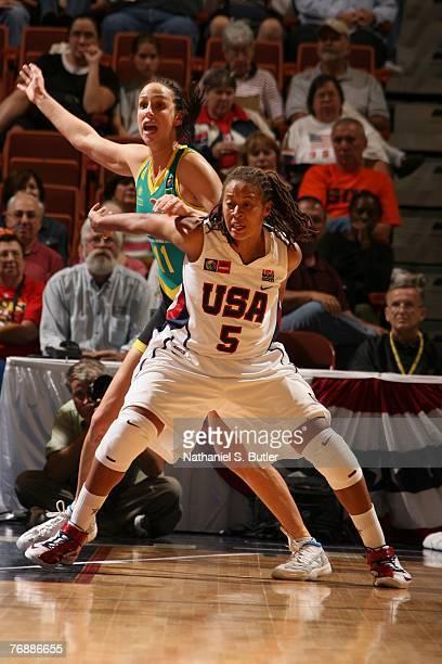 Seimone Augustus of the USA Women's Senior National Team fights for position against Laura Summerton of Australia on September 19, 2007 at the...