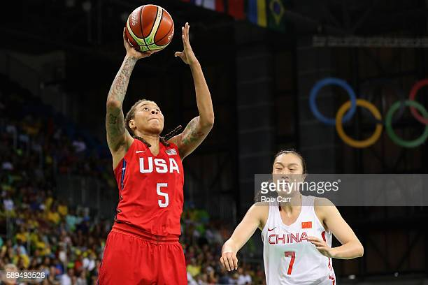 Seimone Augustus of United States puts up a shot in front of Ting Shao of China during the Womens Preliminary Round on Day 9 of the 2016 Rio Olympics...