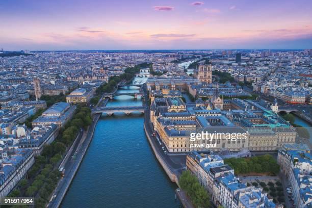 Seine river Paris sunset aerial