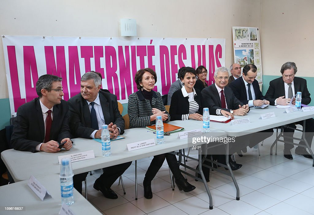 Seine Saint-Denis' General Council president Stephane Troussel, local prefect Christian Lambert, France's Health minister Marissol Touraine, minister of Women's Rights Najat Vallaud-Belkacem, and National Assembly president Claude Bartolone, meets with employees of the 'La maternite des Lilas' on January 17, 2013 in the Parisian suburban city of Les Lilas. The visit comes to mark the anniversary of January 17, 1975 law on voluntary abortion (IVG).