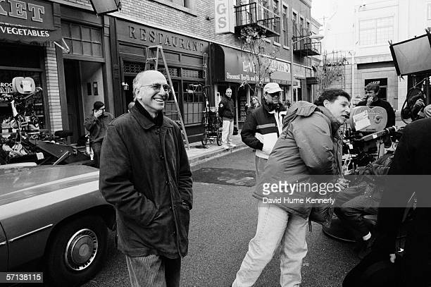 Seinfeld cocreator Larry David on the set of Seinfeld during the last days of the sitcom's production on Circa 1998 in Studio City California