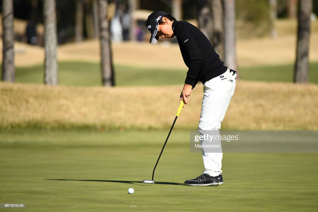 Seira Oki of Japan putts during the first round of the LPGA Rookie Tournament at Great Island Club on December 7, 2017 in Chonan, Chiba, Japan.