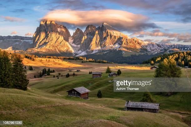 seiser alm, dolomite alps, italy, europe - dolomiten stock-fotos und bilder