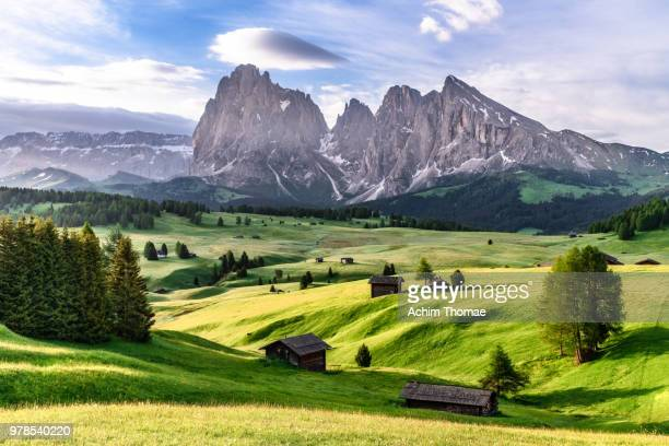 seiser alm, dolomite alps, italy, europe - dolomites stock pictures, royalty-free photos & images