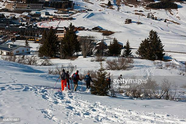 seiser alm (dolomites) - group of people with snowshoes - pjphoto69 stock pictures, royalty-free photos & images