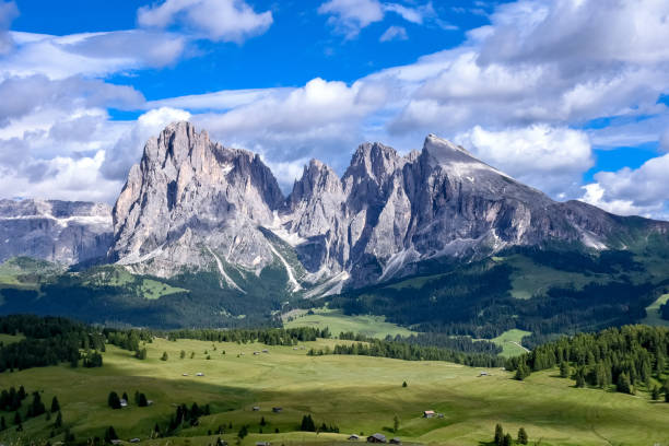 Seiser Alm (Langkofel) view in Dolomite Alps, South Tyrol, Italy, a UNESCO heritage site