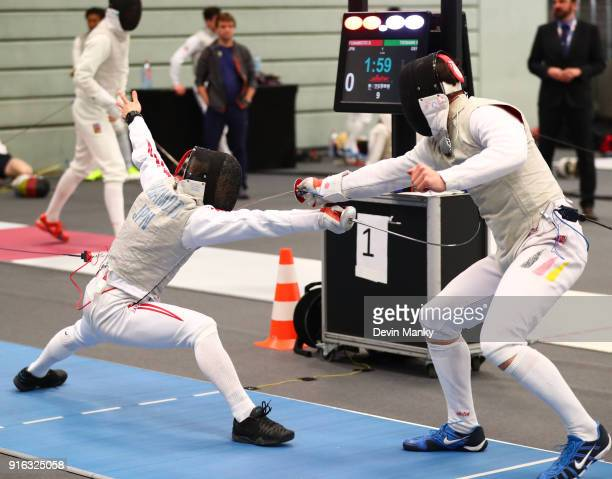 Seishiro Funamoto of Japan fences Max Tiemann of Germany during competition at the Lowe von Bonn Men's Foil World Cup on February 9 2018 at the...