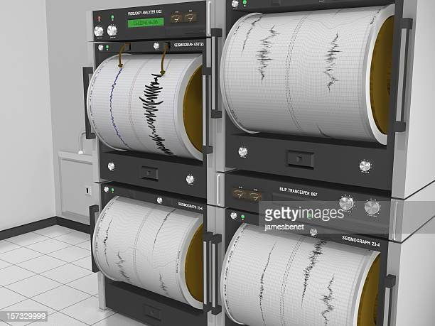 seismograph machine room angle view - earthquake stock pictures, royalty-free photos & images