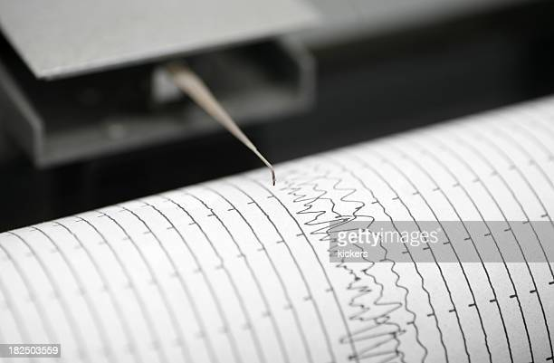 seismometer printing details - earthquake stock pictures, royalty-free photos & images