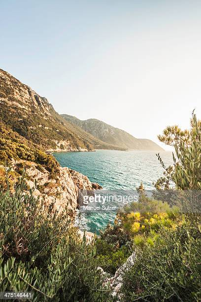 seitani bay, samos, greece - samos stock photos and pictures