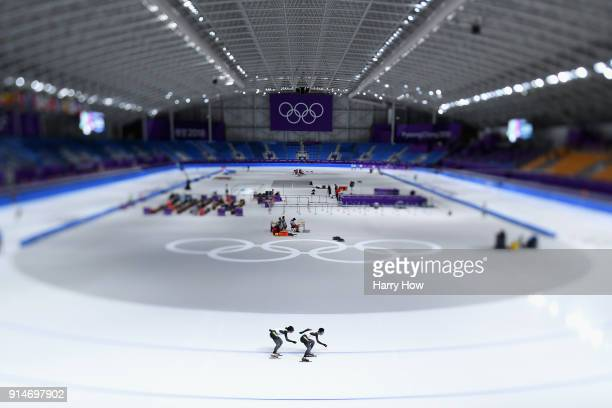 Seitaro Ichinohe and Ryosuke Tsuchiya of Japan train during previews ahead of the PyeongChang 2018 Winter Olympic Games at Gangeung Oval on February...