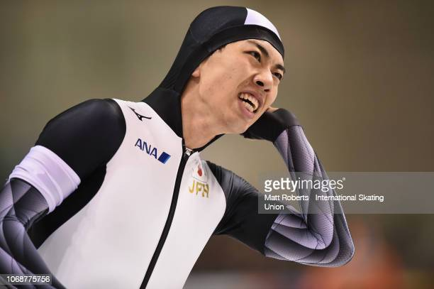 Seitaro Ichinohe of Japan competes during the Men's 1500m Division A race on day two of the ISU World Cup Speed Skating at Meiji HokkaidoTokachi Oval...
