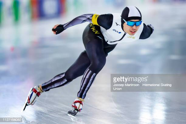 Seitaro Ichinohe of Japan competes in the Men's 1500m during day 3 of the ISU World Cup Speed Skating Hamar at Hamar Olympic Hall on February 03 2019...