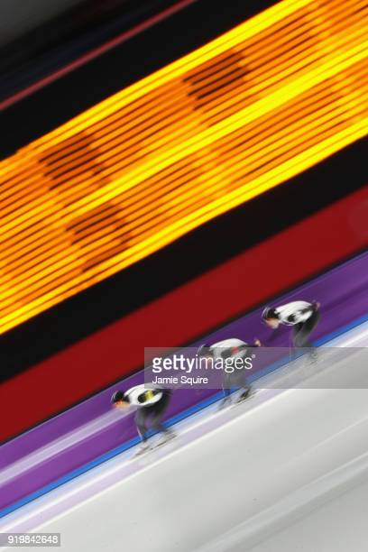 Seitaro Ichinohe of Japan Shota Nakamura of Japan and Shane Williamson of Japan compete during the Men's Team Pursuit Speed Skating Quarter Finals on...