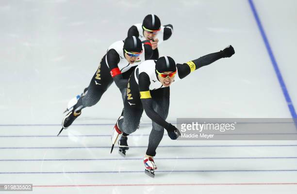 Seitaro Ichinohe Shota Nakamura and Shane Williamson of Japan compete during the Men's Team Pursuit Speed Skating Quarter Finals on day nine of the...
