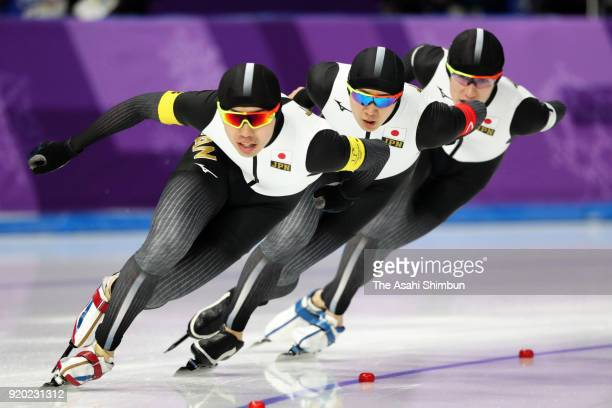 Seitaro Ichinohe Shota Nakamura and Shane Williamson of Japan compete in the Speed Skating Men's Team Pursuit quarter final on day nine of the...