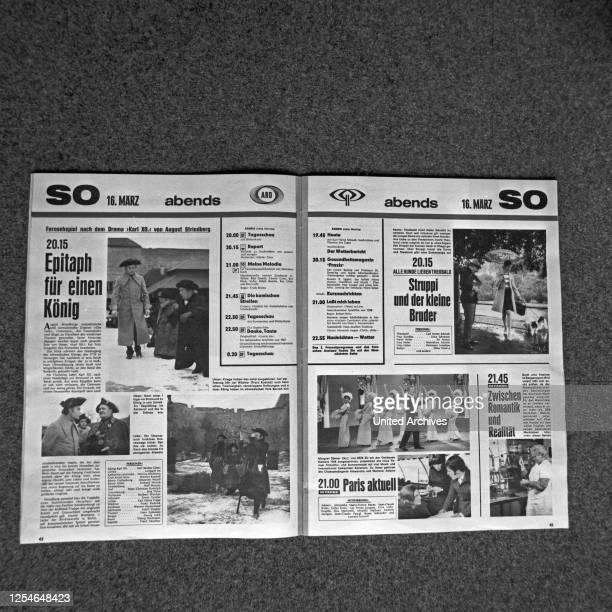 Seite aus der Fernsehzeitschrift HörZu, Deutschland 1960er Jahre.