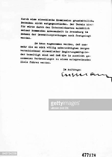 2 Seite eines Briefes zur 'Endlösung derJudenfrage in der Slowakei' unterzeichnetvon Adolf Eichmann