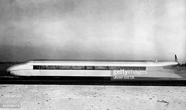 Seitenansicht des Schienenzeppelins der Flugbahngesellschaft Hannover 1930
