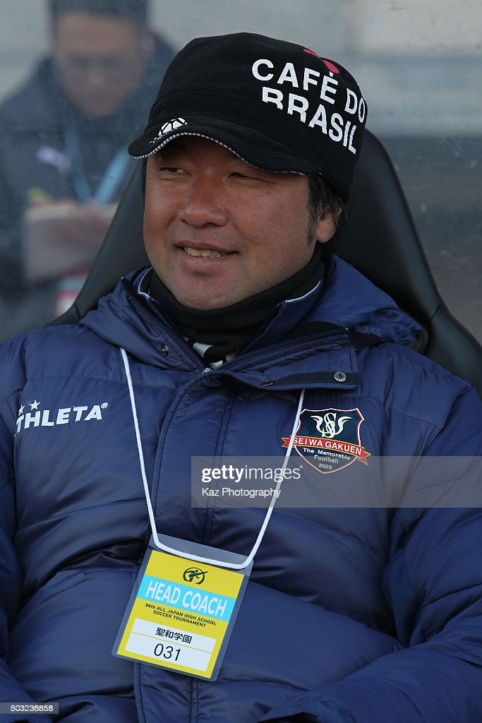 Seiwa Gakuen head coach Seiji Kami looks on prior to the 94th All Japan High School Soccer Tournament second round match between Aomori Yamada and Seiwa Gakuen at Todoroki Stadium on January 2, 2016 in Kawasaki, Kanagawa, Japan.